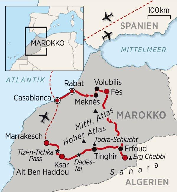 Karte Marokko