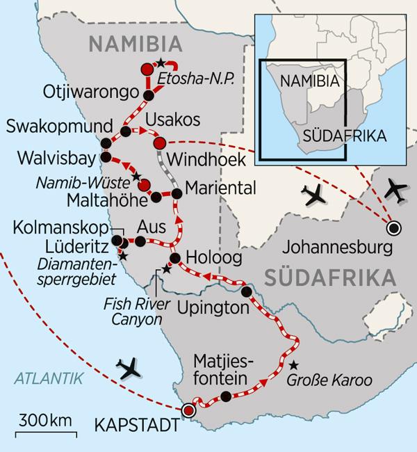 Karte mit Reiseroute