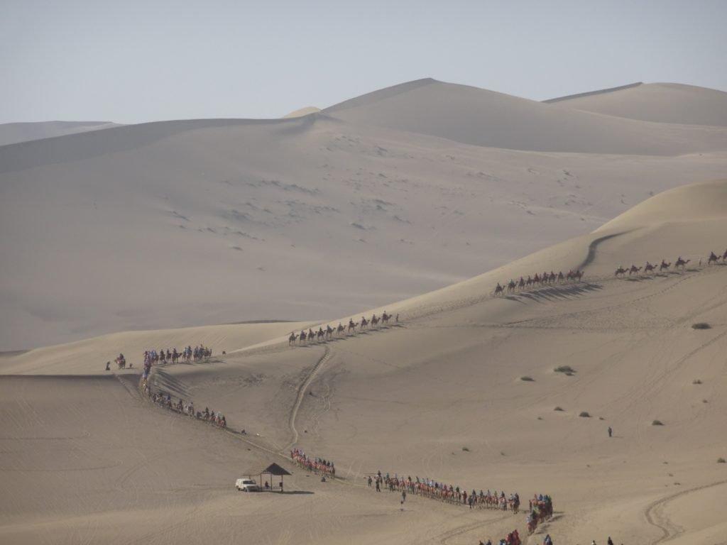 Kamelkarawananen ziehen die Düne aus Sand hinauf