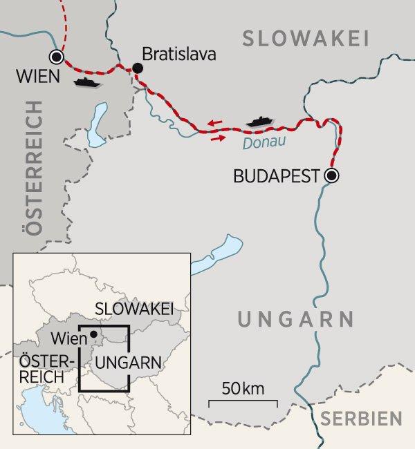 Karte Donau Kreuzfahrt