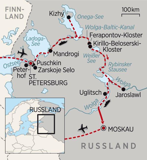 Route der Flusskreuzfahrt von St. petersburg nach Moskau