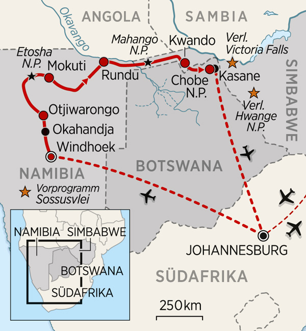 Karte Namibia, Botswana