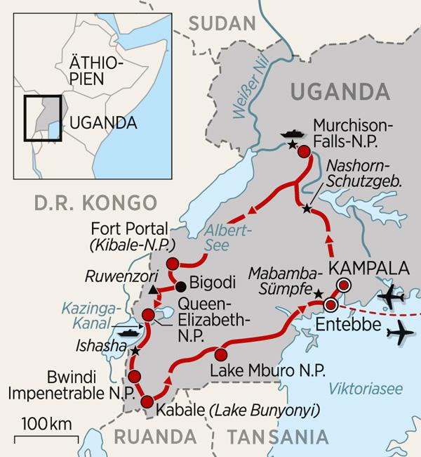Übersicht der Uganda Reise als Karte