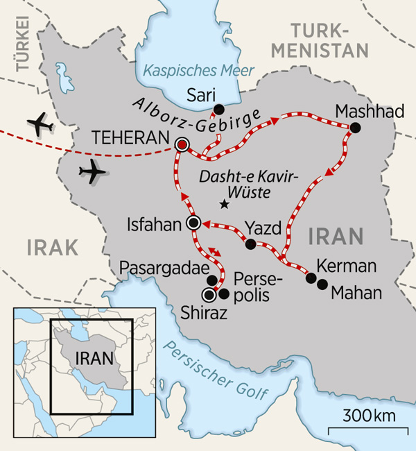 Karte Zugreise