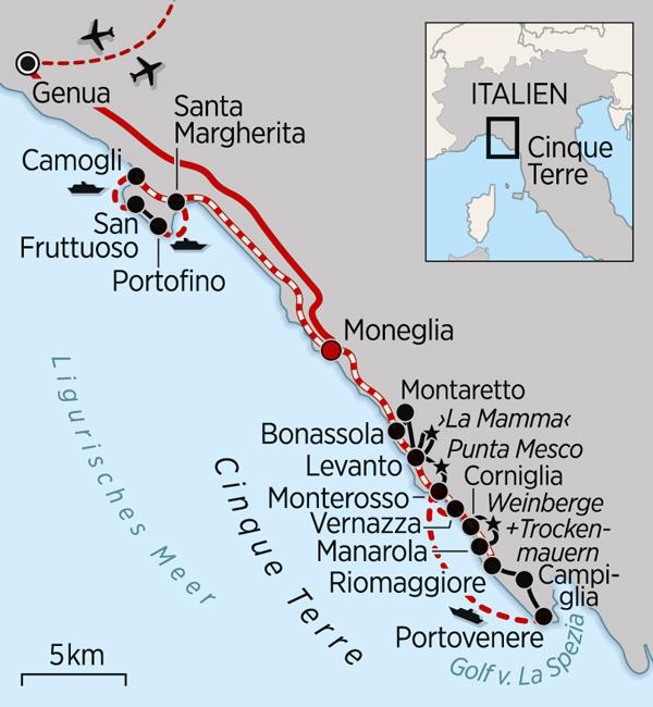 Reiseroute Cinque Terre
