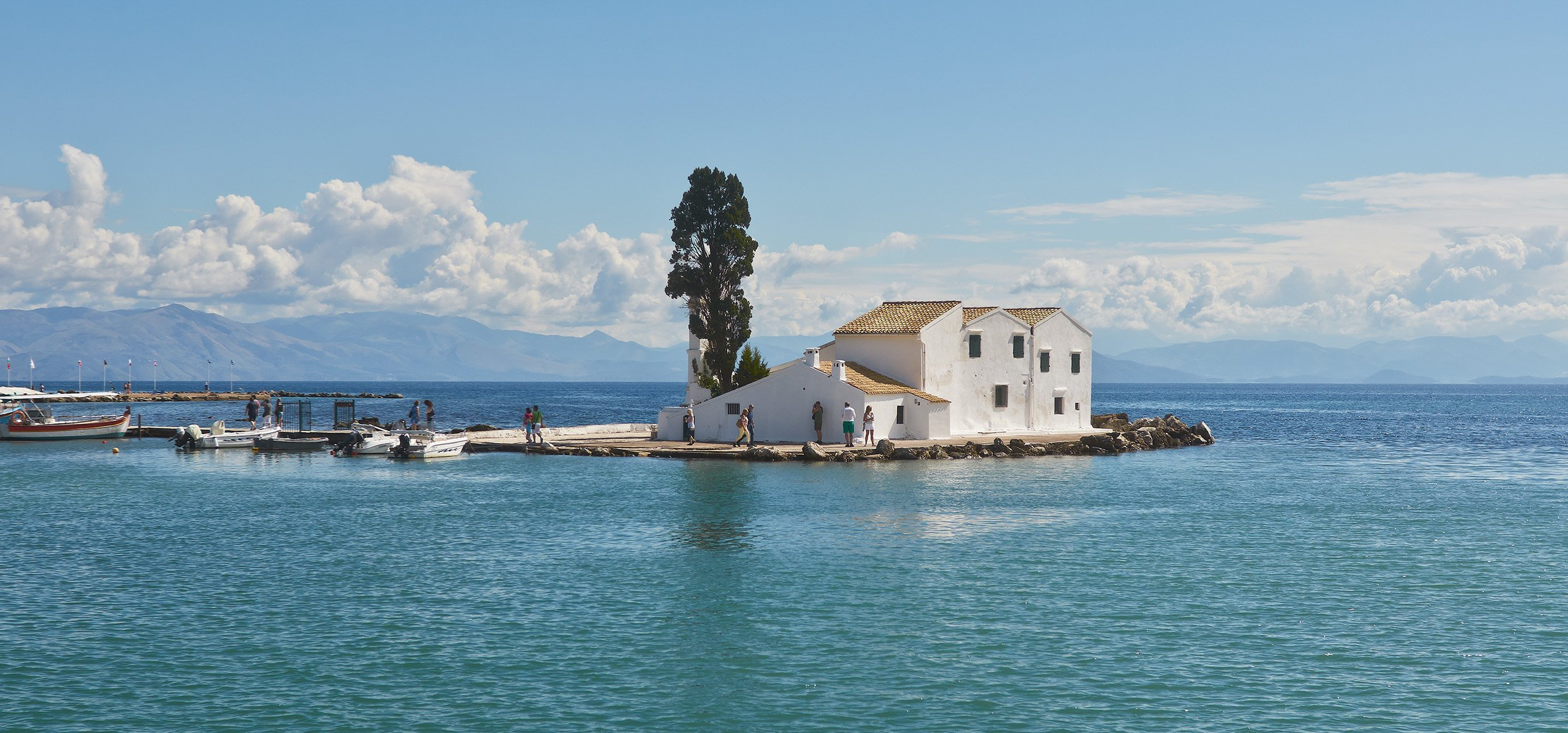 Vlacherna Monastery of Kanoni on Corfu.