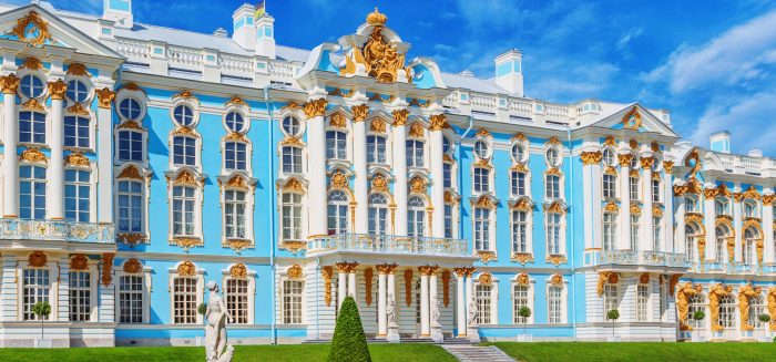 Pushkin, Saint Petersburg/Russia - August 11, 2015: The Catherine Palace at the Catherine Park in summer day