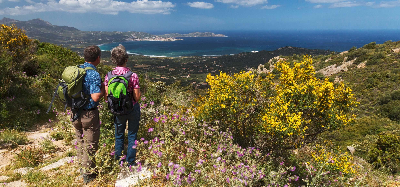 Paar wandert in der blhenden Macchia auf Korsika