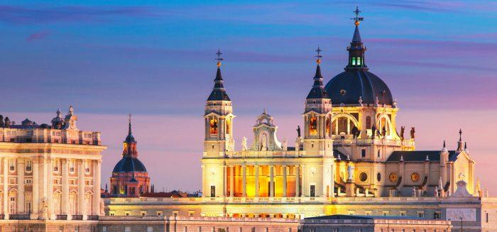 Madrid. Image of Madrid skyline with Santa Maria la Real de La A