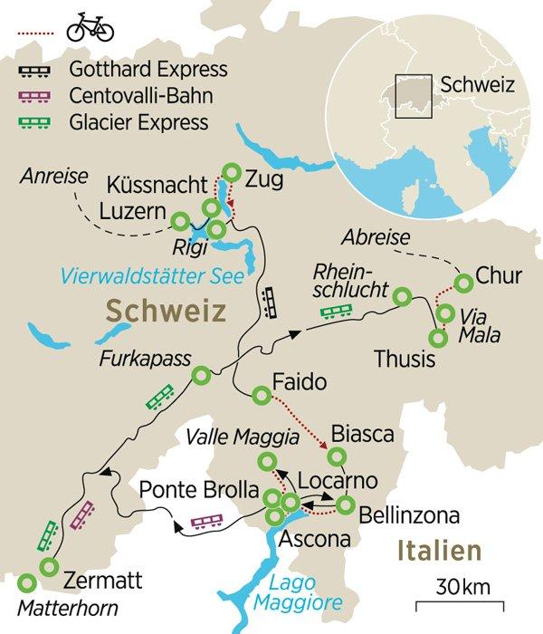 Karte Lago Maggiore Und Umgebung.Erlebnis Schweiz Auf Dem Velo Und In Panoramazugen Zeit