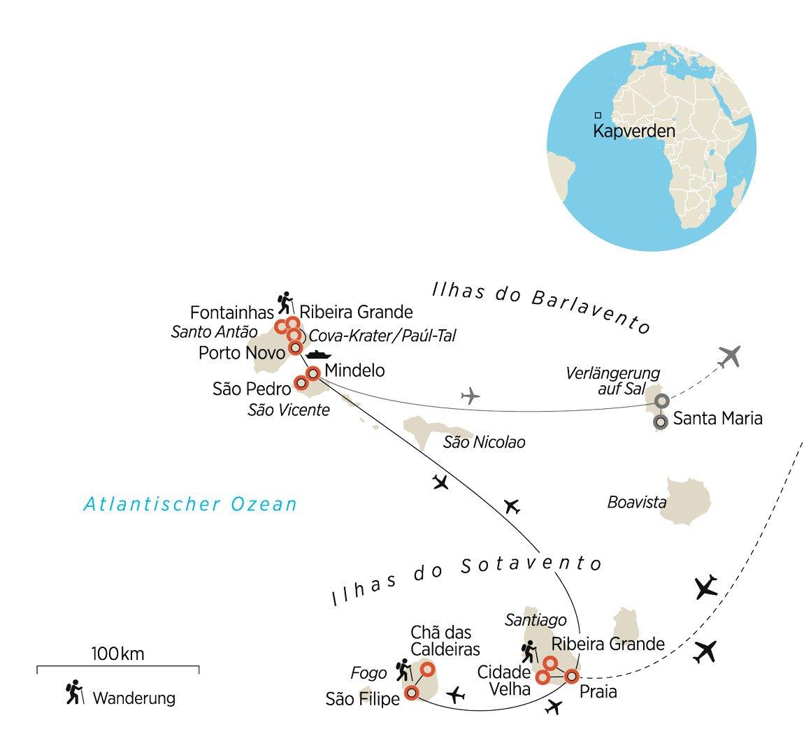 Wo Liegt Kapverden Karte.Wandern Auf Den Kapverden Begegnungen Mit Natur Musik Und