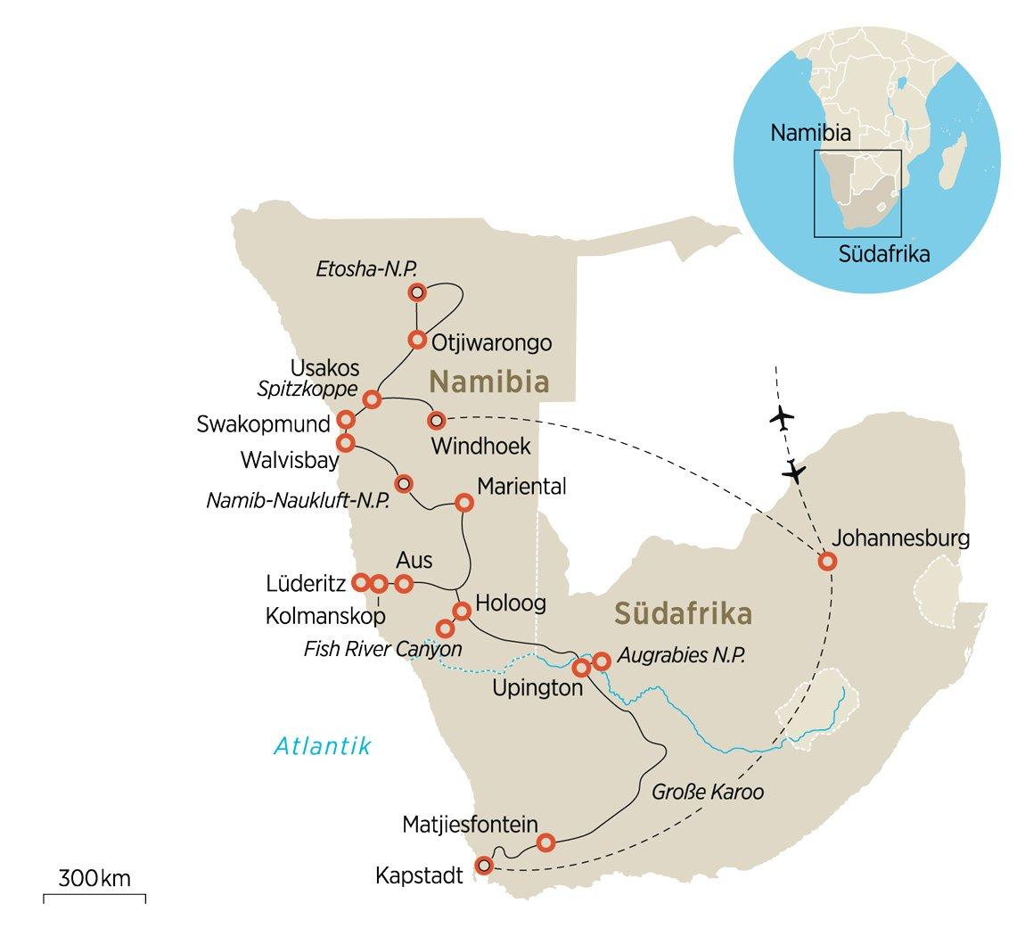 Namib Wüste Karte.Im African Explorer Durchs Südliche Afrika Zeit Reisen
