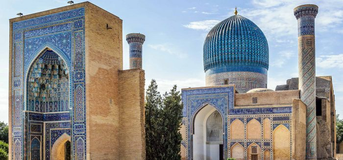 Registan, the heart of the ancient city of Samarkand of the Timurid dynasty, now in Uzbekistan.