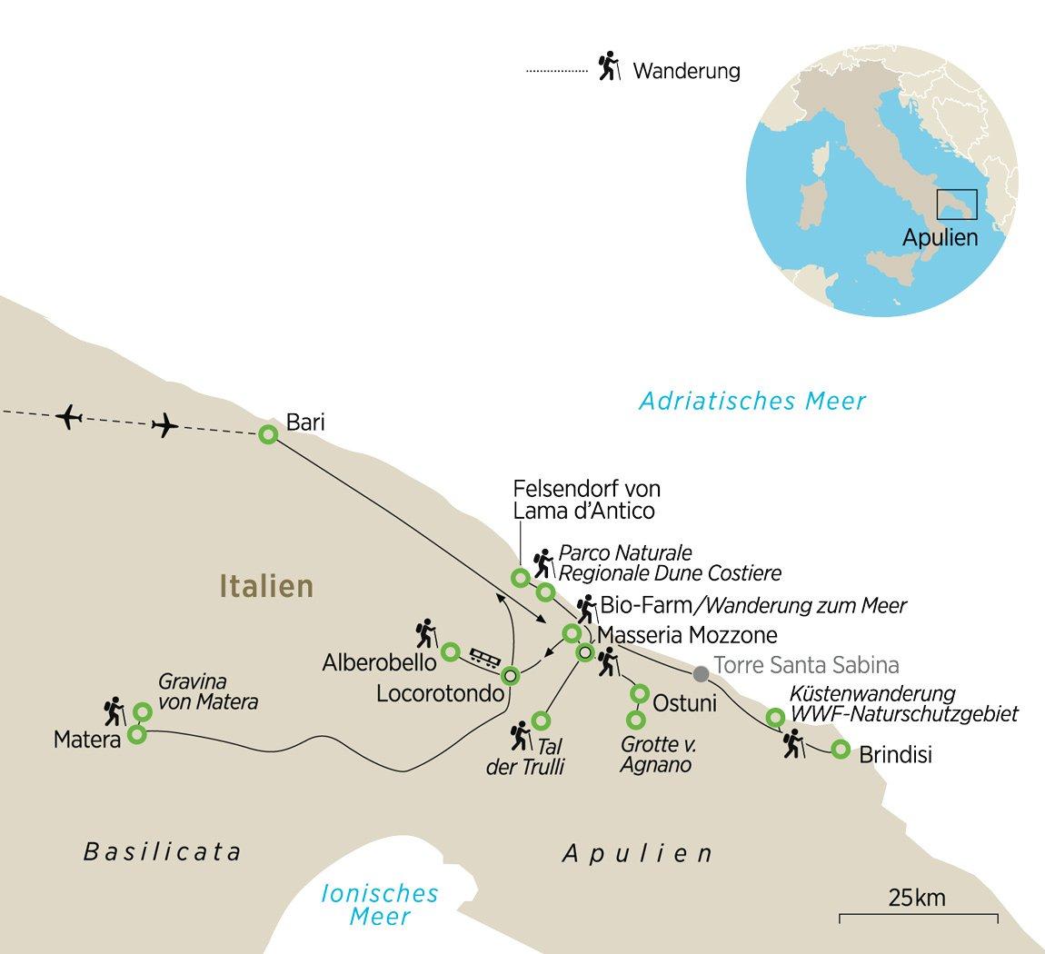 Apulien Karte Italien.Wandern In Apulien Mediterrane Kultur Und Ursprünglichen Zauber