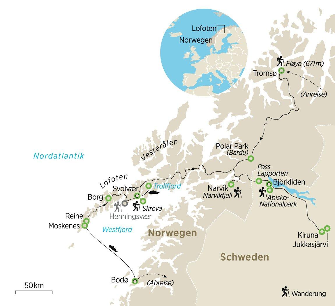 Lappland Karte.Nordische Träume Kulturwandern In Lappland Und Auf Den Lofoten