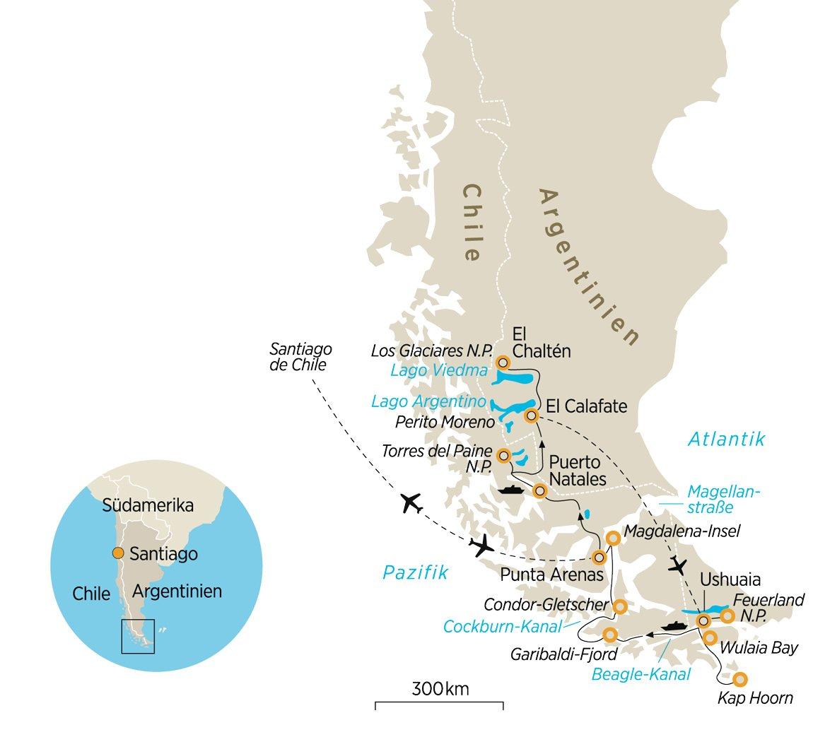 Patagonien Highlights Karte.Naturreise In Den Süden Amerikas Naturschauspiel Patagonien Hautnah