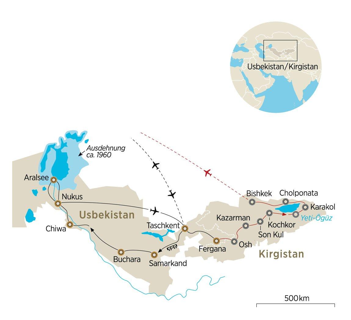 Usbekistan Karte.Usbekistan Und Kirgistan Erkunden Kulturreise Auf Der Seidenstraße