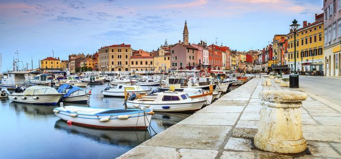 Stunning romantic old town of Rovinj with magical sunrise,Istrian Peninsula,Croatia,Europe