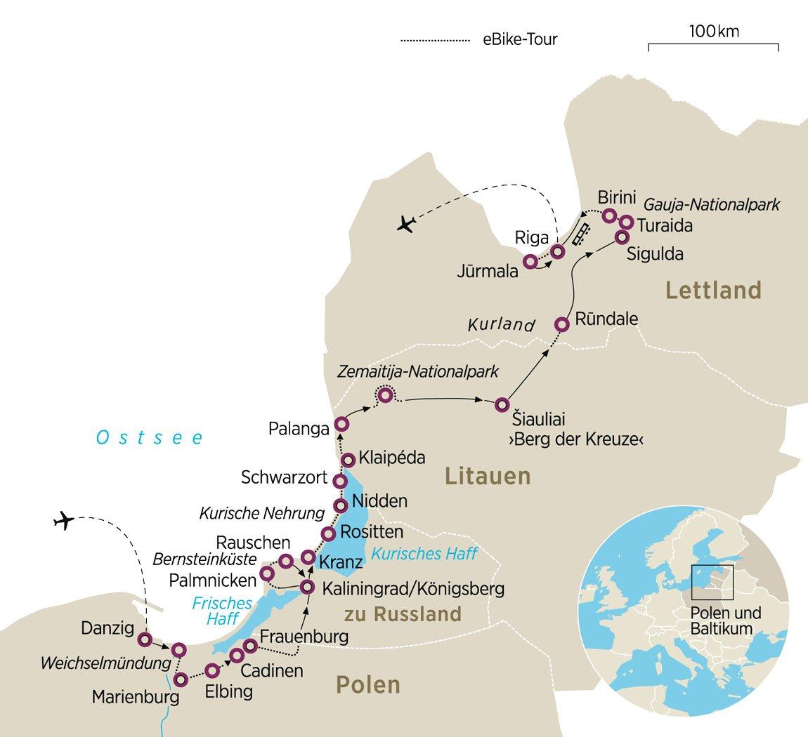 Kurische Nehrung Karte.E Bike Tour Baltische Traumroute Von Danzig Nach Riga Zeit Reisen