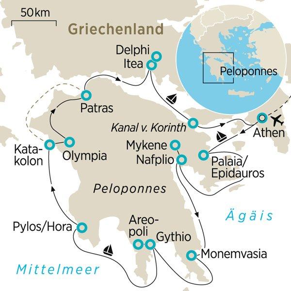 Griechenland Peloponnes Karte Deutsch.Segelreise Rund Um Die Peloponnes Zeit Reisen