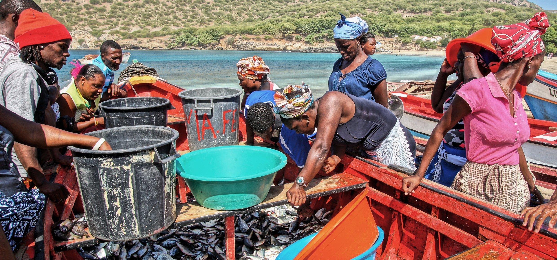 Back from fishing at Tarrafal beach on Santiago Island (Cape Verde)