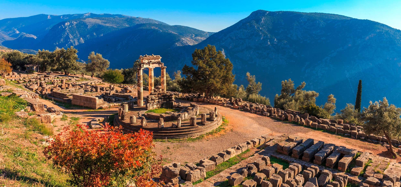 ruins Athina Pronaia temple in Ancient Delphi
