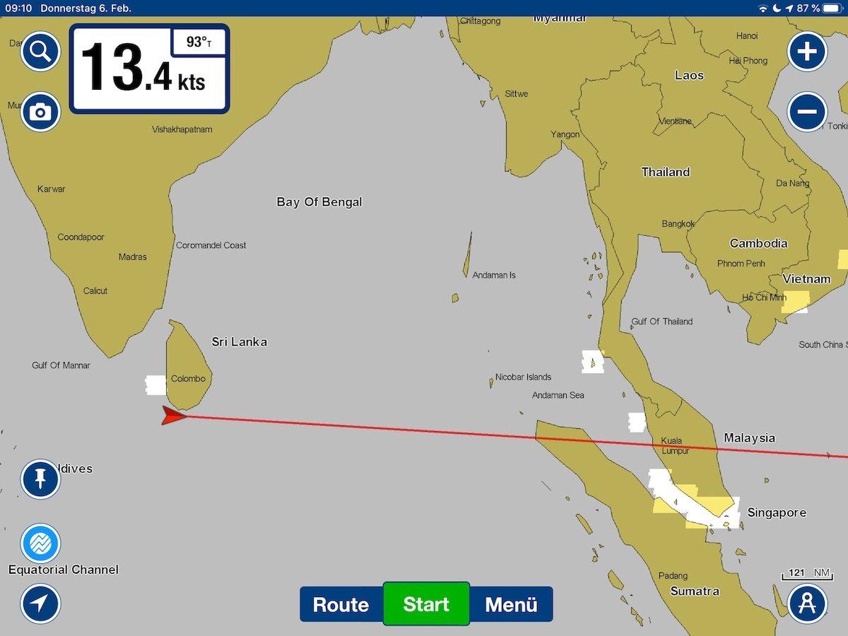 Unsere Position heute früh: Wir haben Colombo (Sri Lanka) um Mitternacht verlassen und haben Kurs nach Osten genommen. Am Sonntag früh wollen wir in Phuket (Thailand) sein