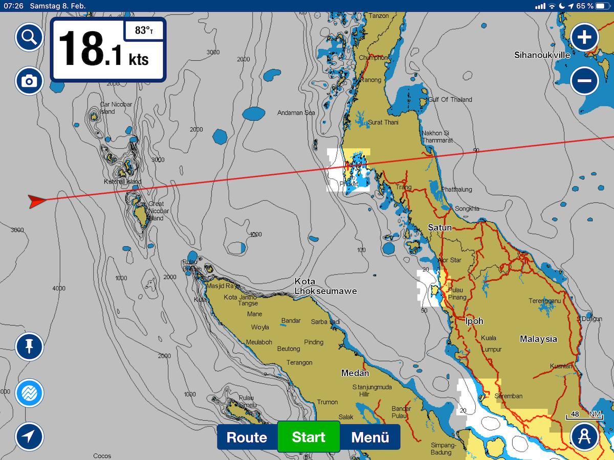 Unsere Position heute früh. Am frühen Nachmittag durchfahren wir die Sombrero-Passage zwischen den Nicobaren-Inseln
