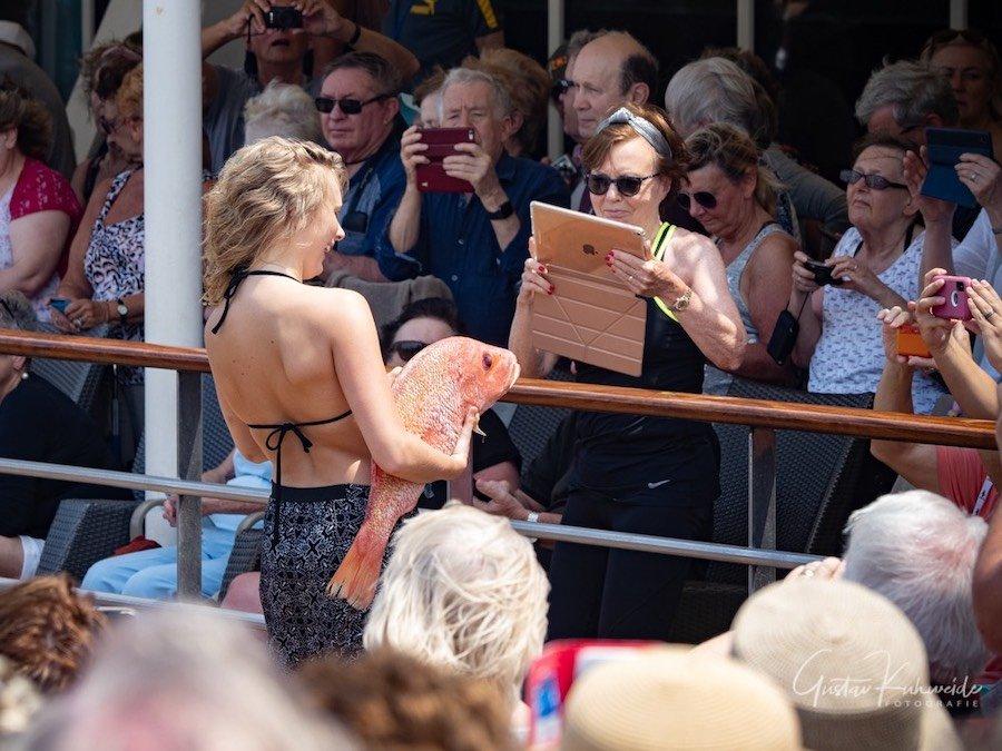 Seeleute, die erstmals den Äquator überqueren, werden äquatorgetauft. Und müssen dabei einen Fisch küssen. Auch Passagiere konnten sich für die Prozedur melden. Die meisten allerdings sahen lieber zu ...